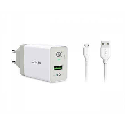 Anker Home Charger + 1 Quick Charge Cable 3.0 White