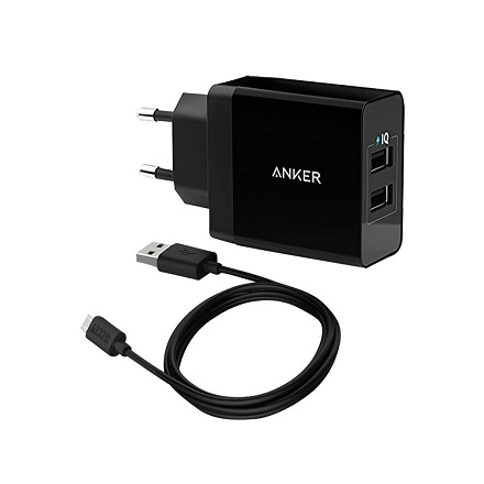 Anker Home Charger 2 Port + 3ft micro USB Cable Black